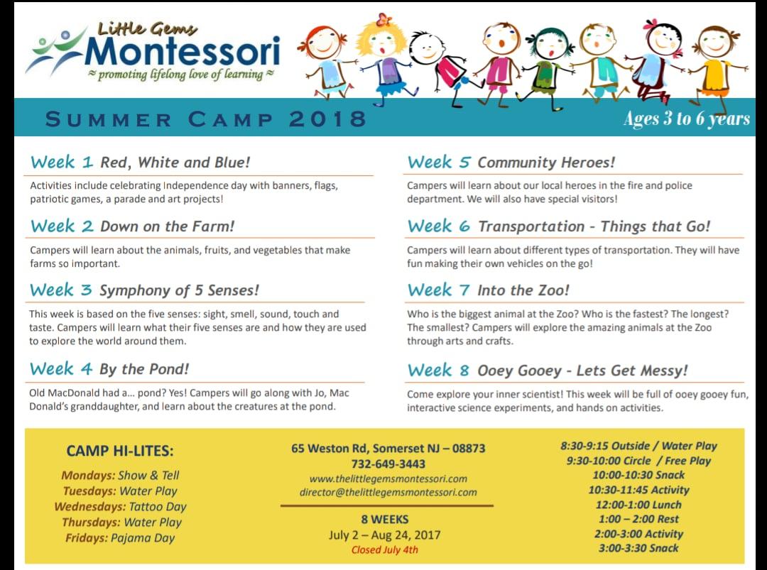 Little Gems Montessori Summer Camp 2018